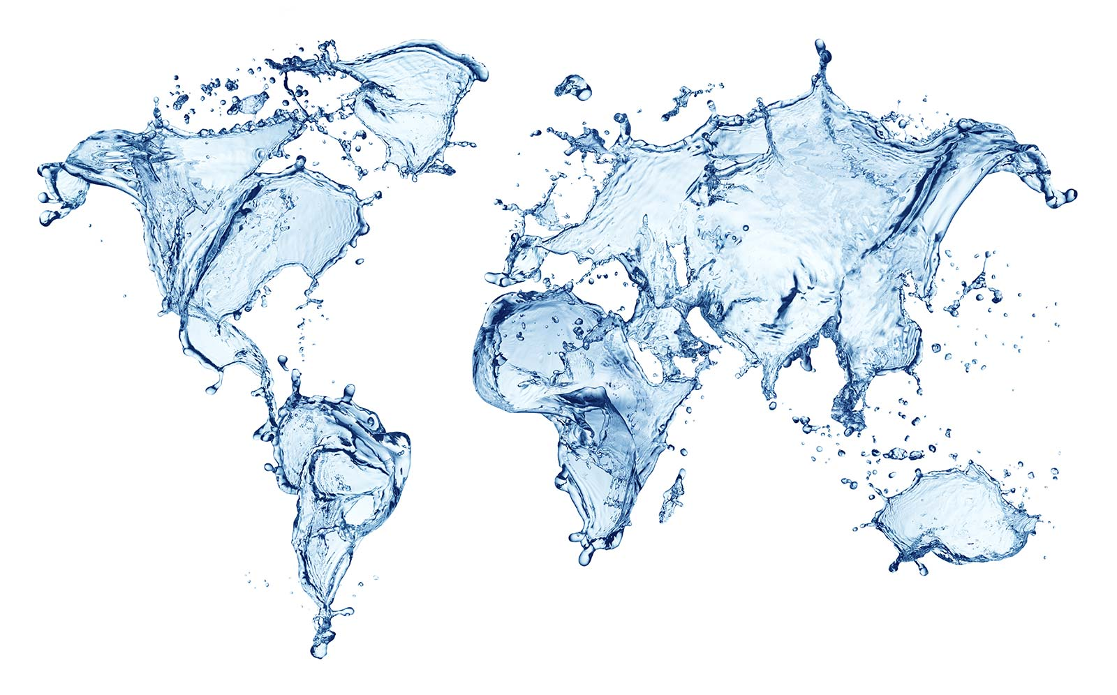 blue water splashing in the shape of a world map